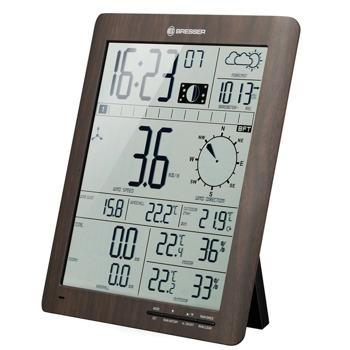 Електронна метеостанция Bresser ClimaTemp XXL, вътрешна температура и относителна влажност, показване на лунна фаза, атмосферно налягане, алармена функция, данни за вятъра, кафява image
