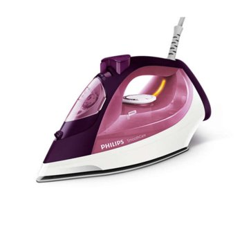 Парна ютия Philips Steam Pink, 40 г/мин. пара, 170г. парен удар, Safety Auto Off, 2400W, бяла/розова image