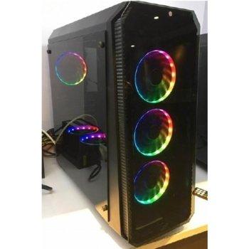 Кутия Power Box F760, ATX/Micro ATX/Mini-ITX, 1x USB 3.0, прозорец, черна, RGB подсветка, без захранване image