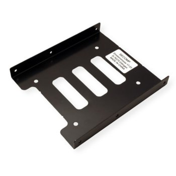 """Преходник (mounting bracket) Roline 16.01.3009, от 2x 2.5"""" към 3.5"""" за SSD/HDD, метален, черен image"""