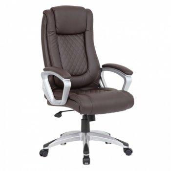 Директорски стол OKOffice Ambassador, пластмасова база, еко кожа, до 130 кг, кафяв image