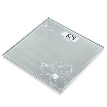 Цифров кантар Beurer GS 10 Glass scale Gray, капацитет 180 кг, LCD дисплей, с включена батерия, сива image