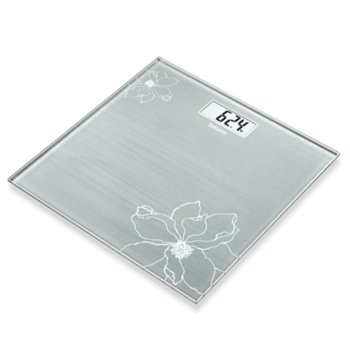 Цифров кантар Beurer GS 10 Glass scale Gray, капацитет 180 кг, LCD дисплей, с включена батерия, сива image