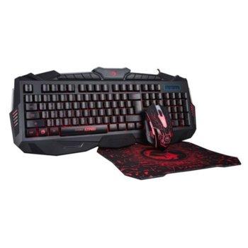 Комплект клавиатура/мишка/пад Marvo KM400+G1 3-in-1, гейминг, оптична мишка (2400 dpi), подсветка, черни, USB image