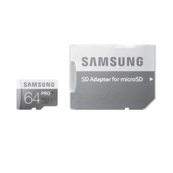 Карта памет 64GB microSDXC с адаптер, Samsung PRO, Class 10, UHS-I, скорост на четене 90MB/s, скорост на запис 80MB/s image