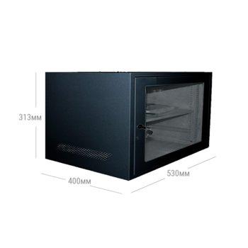 "Комуникационен шкаф Privileg JZ-VC6406, 19"", 6U, 530 x 400 x 313 мм, за монтаж на стена, IP20 защита, черен image"