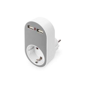 Разклонител Digitus DA-70617, 1 гнездо, 2x USB Type A, LED индикатор за USB, защита от претоварване и късо съединение, IP20 защита, бял image