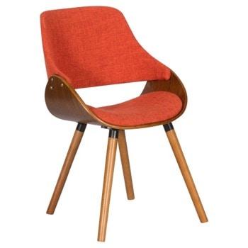 Трапезен стол Carmen 9973, до 120кг. макс. тегло, орех, дамаска/дърво, дървена база, оранжев image