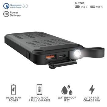 Външна батерия /power bank/ Trust Hyke Outdoor, 10000mAh, водоустойчива, черна image