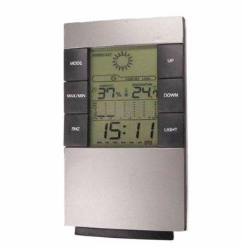 Електронна метеостанция Royal CX-506, термометър, часовник, дата, измерване на влага/влажност, LED Осветление, бяла image