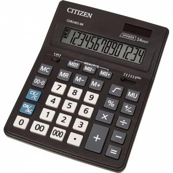 Калкулатор Citizen CMB-1401BK, 14-цифрен едноредов LCD дисплей, настолен, корен квадратен, десетичен селектор, закръглящ селектор, функция на паметта с 4 клавиша: MR, MC, M +, M-, автоматично изключване, черен image