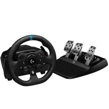 Волан с педали Logitech G923 (941-000158), USB, черни/сиви, за Xbox One image