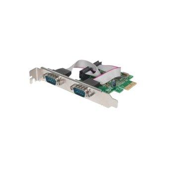 Контролер Manhattan 152082, от PCI-Express 1.1 x1(м) към 2x RS232(DB9)(ж), до 2.5Gbps image