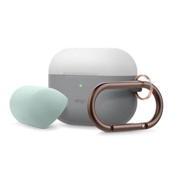 Калъф за слушалки Elago Duo Hang Silicone EAPPDH-TRDG-LGMT, за Apple AirPods Pro, силиконов, сив-светлосив image