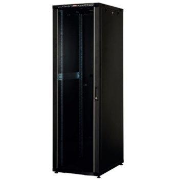 """Комуникационен шкаф Lande LN-CK36U6060-BL-121, 19"""", 36U, 600 x 600 мм, стъклена врата, LCD термометър, черен image"""