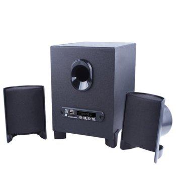 Тонколони Kisonli ТМ-6000, 2.1, 10W RMS (2x 2.5W + 5W), USB, 3.5mm жак, черни image