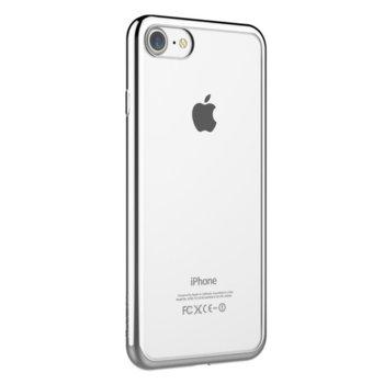 Калъф за Apple iPhone 7, страничен протектор с гръб, термополиуретан, Devia Glitter Soft, сребрист image