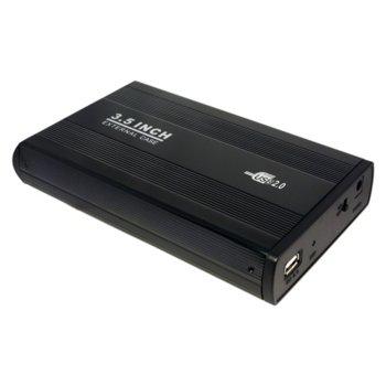 """Кутия 3.5""""(8.9 cm), LogiLink UA0066, за 3.5"""" IDE HDD, USB 2.0, алуминий, черна image"""