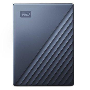 """Твърд диск 4TB, Western Digital MyPassport Ultra Blue WDBFTM0040BBL (син), външен, 2.5"""" (6.35 cm), USB Type C image"""