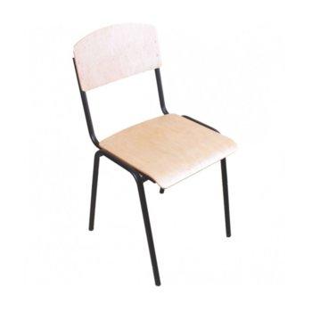 Посетителски стол Tina, дървен, метални крака, дърво-бежов image
