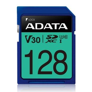 Карта памет 128GB SDXC A-Data Premier Pro, Class 10 UHS-I U3 (V30S), скорост на четене 100 MB/s, скорост на запис до 80 MB/s image