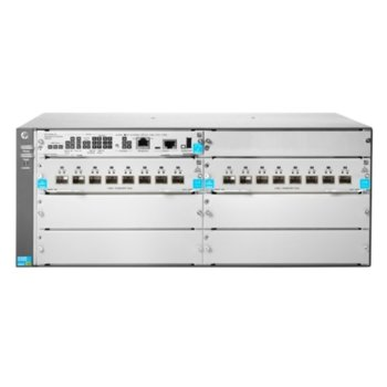 Суич Aruba 5406R 16SFP+ v3 zl2 JL095A, 40 Gbps, (16) open 10GbE SFP+ transceiver slots, supports a maximum of 144 autosensing 10/100/1000 ports or 144 SFP ports or 48 SFP+ ports or 48 HPE Smart Rate Multi-Gigabit or 12 40GbE ports, or a combination image