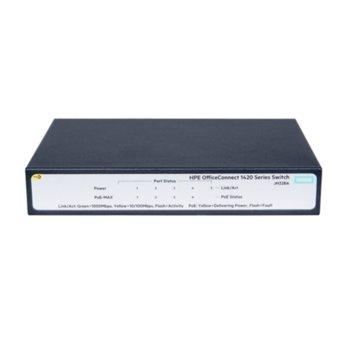 Суич HPE 1420 JH328A_JL186A, 1000 Mbps, 5 PoE/PoE+ x 10/100/1000 image