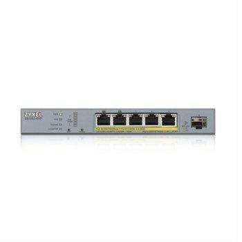 Суич ZyXEL GS1350-6HP, 1000 Mbps, 5x 10/100/1000 Mbps, 5x PoE, 1x SFP image