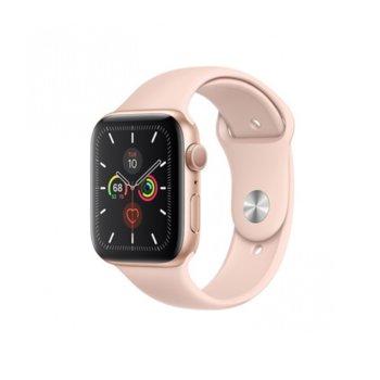 Смарт часовник Apple Watch Series 5 GPS 40mm, 324 x 394 pix LTPO OLED дисплей, 32GB памет, Wi-Fi, Bluetooth, Watch OS 6, водоустойчив, златист с розова Sport Band каишка image
