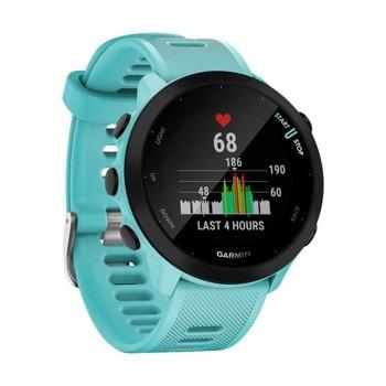 """Смарт часовник Garmin Forerunner 55, 1.04"""" (2.64 cm) дисплей, до 14 дни живот на батерията, GPS, акселерометър, пулсомер, Connect IQ, отброяване на крачките, изгорени калории, хидратация, съвместим с Android и Apple устройства, черен image"""