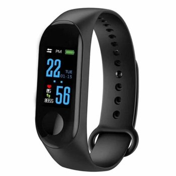 Смарт часовник M3 black, водоустойчивост, аларма, измерване на разстояние/изгорените калории/пулс, мониторинг на съня, Bluetooth 4.2, Android, черен image