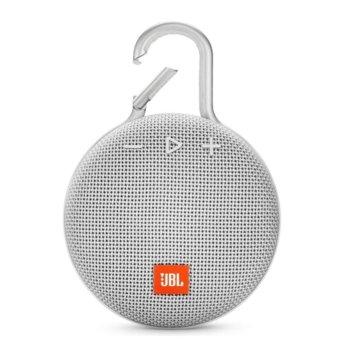 Тонколона JBL Clip 3, 1.0, 3W RMS, безжична, 3.5mm jack/Bluetooth, бяла, микрофон, IPX7, до 10 часа работа image