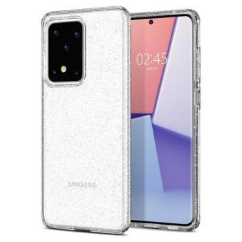 Калъф за Samsung Galaxy S20 Ultra, термополиуретанов, Spigen Liquid Crystal Glitter ACS00710, прозрачен image