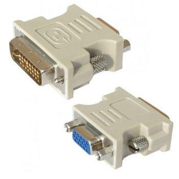 Преходник DeTech, от DVI-I(м) към VGA(ж), бял image