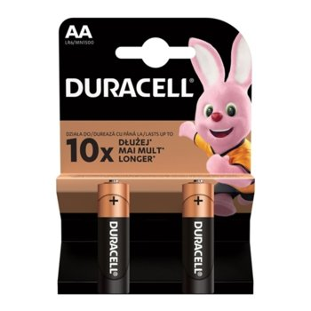 Батерия алкална Duracell, AA, LR6, 1.5V, 2 бр. image
