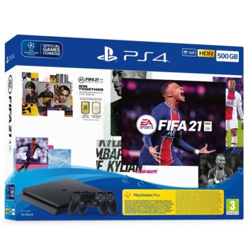 Конзола Sony PlayStation 4 Slim 500GB в комплект с FIFA 21 и DualShock 4, черна image