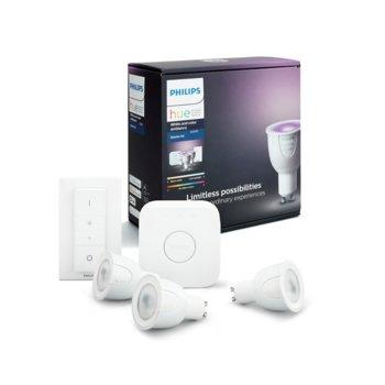 Стартов пакет Philips HUE Starter Kit GU10, 3x смарт RGB LED крушки, преходник, превключвател, 6,5W, GU10, A60, 250 lm, 2000K-6500K, димируеми, 16 милиона цвята image