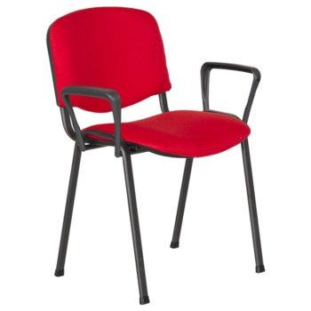 Посетителски стол Carmen 1150 LUX, метани крака, полипропиленови облегални за ръце, дамаска, червен image