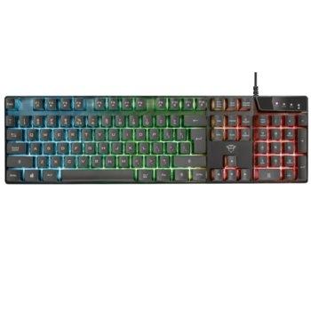 Клавиатура Trust GXT 835 Azor, подсветка, 12 медийни бутона, 1.8 m кабел, черна, USB image