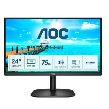 """Монитор AOC 24B2XDM, 23.8"""" (60.45 cm) VA панел, 75Hz, Full HD, 4ms, 20000000 :1, 250 cd/m2, DVI, VGA image"""