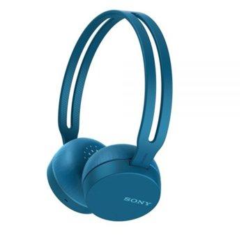 Слушалки Sony WH-CH400, Bluetooth, микрофон, Google/Siri voice assistant, сини image