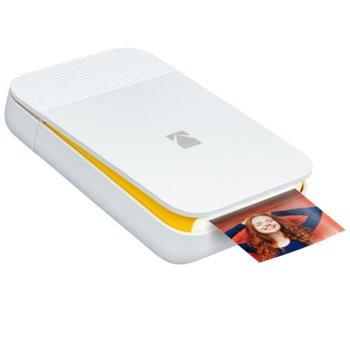 Мобилен принтер Kodak Smile Printer White/Yellow RODSMMPRD, цветен термичен фотопринтер, A2 формат, Bluetooth, micro USB, бял image