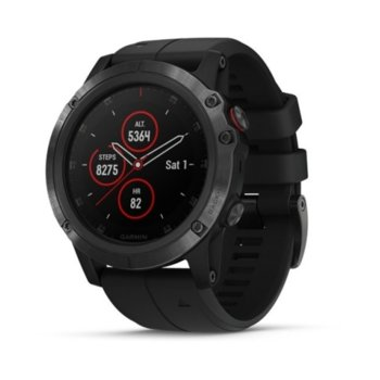 "Смарт часовник Garmin fēnix 5X Plus, 1.2"" (3.1 cm) LED дисплей, Bluetooth, Wi-Fi, GPS, водоустойчив, карта на Европа, силиконова каишка, черен image"