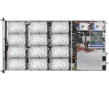"""Barebone Сървър ASRock 1U12LX, поддържа Intel Xeon processor E3-1200 v3/v4 & Haswell i3 processors, 4x DIMM DDR4 слота ,Без твърд диск(12x 3.5""""/2.5"""" Hot-plug), 1x PCI-E 3.0, 1U Rackmount, 550W захранване image"""
