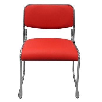 Посетителски стол RFG Axo M, до 120 кг, еко кожа, метална база, протектори за защита на подови настилки, червен, 5 броя в комплект image