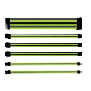 Комплект захранващи кабел Cooler Master Green & Black, 30 cm, черен/зелен image