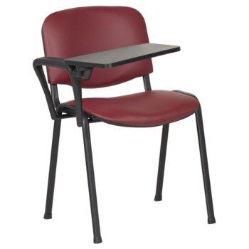 Посетителски стол Carmen 1141 LUX, метални крака, полипропиленова масичка за писане, еко кожа, бордо image