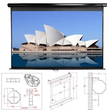 """Екран Elite Screens 119"""" (302.26 cm), 213.36 x 213.36 cm ползваема площ, окачване на стена/таван, 2г. image"""