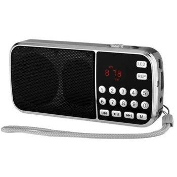 Радио DIVA RETRO L-088 MINI, LED дисплей, FM, MP3 плеър, възпроизвеждане на музикални файлове от MicroSD карта или USB, сребристо image