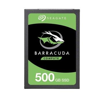 """Памет SSD 500GB Seagate BarraCuda, SATA 6Gb/s, 2.5""""(6.35 cm), скорост на четене 560 MB/s, скорост на запис 535 MB/s image"""